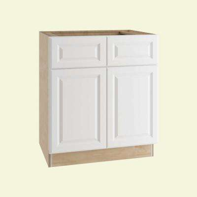 Hallmark Assembled 36x34.5x24 in. Base Kitchen Cabinet with Double Doors and 2 Rollout Trays in Arctic White