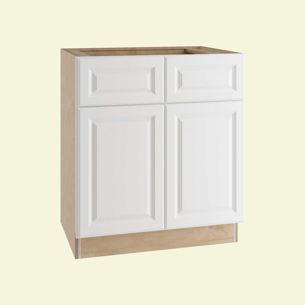Home Decorators Collection Hallmark Assembled 36x34.5x24 in. Base Kitchen Cabinet with Double Doors in Arctic White
