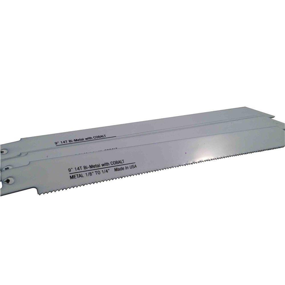 9 in. x 3/4 in. x 0.035 in. 14 Teeth per in. Metal Cutting Bi-Metal Reciprocating Saw Blade (5-Pack)