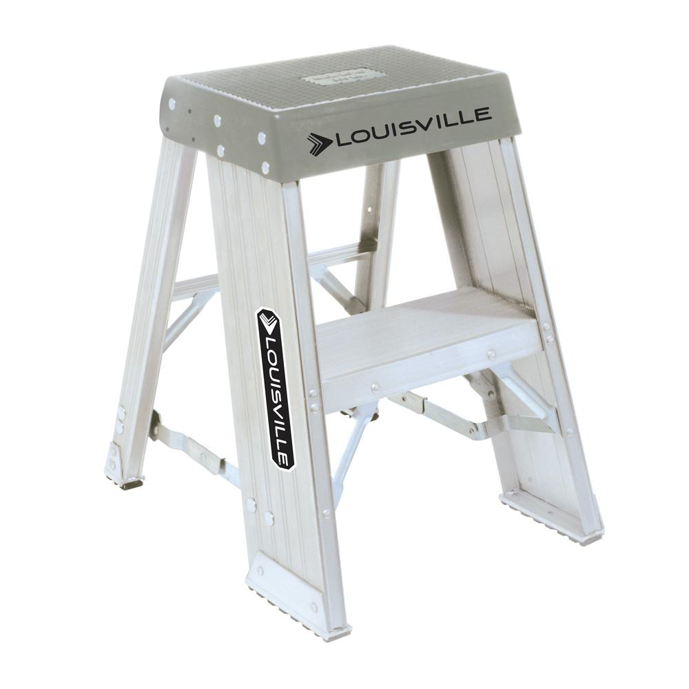 Excellent Louisville Ladder 2 Ft Aluminum Step Stand With 300 Lb Load Capacity Type Ia Duty Rating Creativecarmelina Interior Chair Design Creativecarmelinacom
