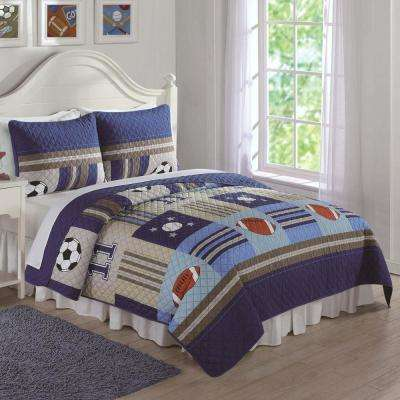 Denim and Khaki Sports Blue Queen Quilt and Shams