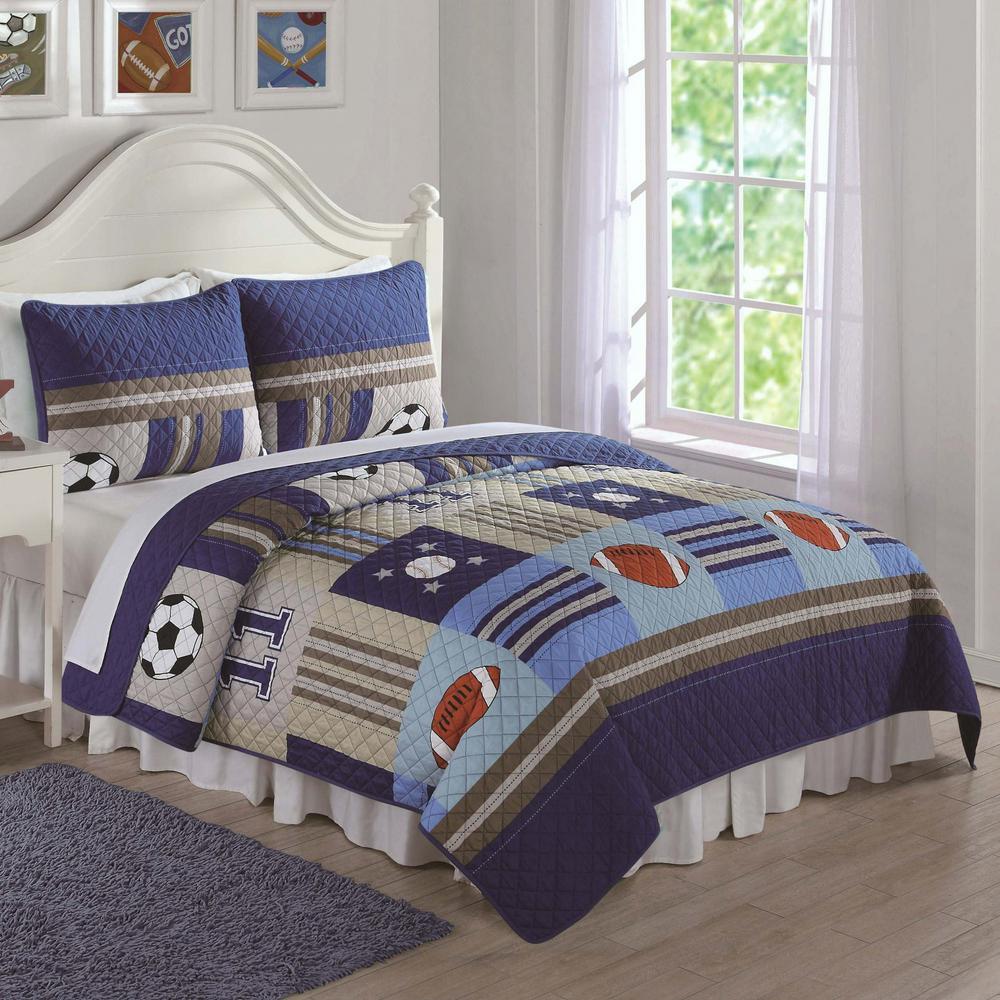 Denim and Khaki Sports Blue Twin Quilt and Sham