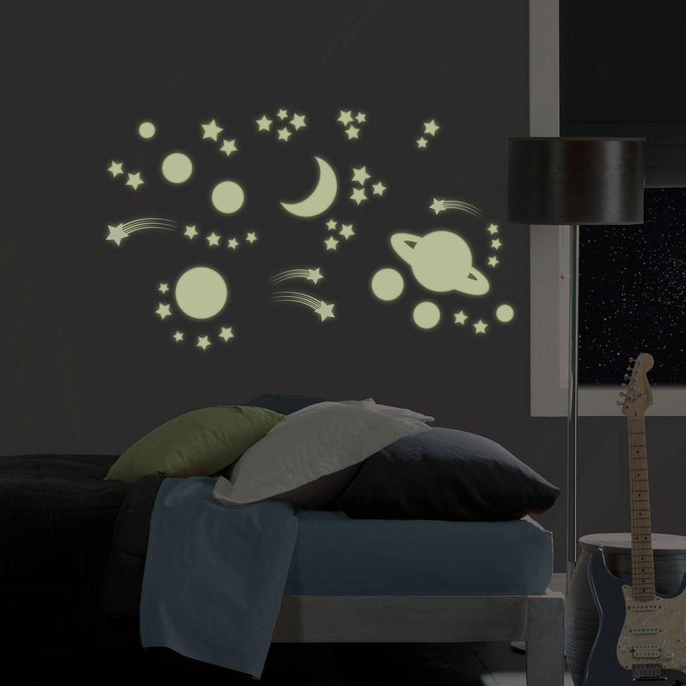 Home depot glow in the dark paint - 46 Piece Planets Glow In The Dark Wall Decal Ms0105 The Home Depot