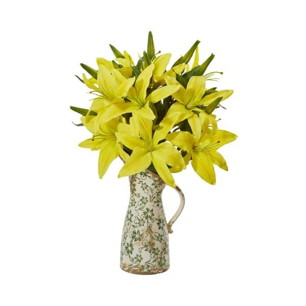 21 in. Lily Artificial Arrangement in Floral Pitcher