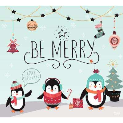 7 ft. x 8 ft. Merry Penguins-Christmas Garage Door Decor Mural for Single Car Garage