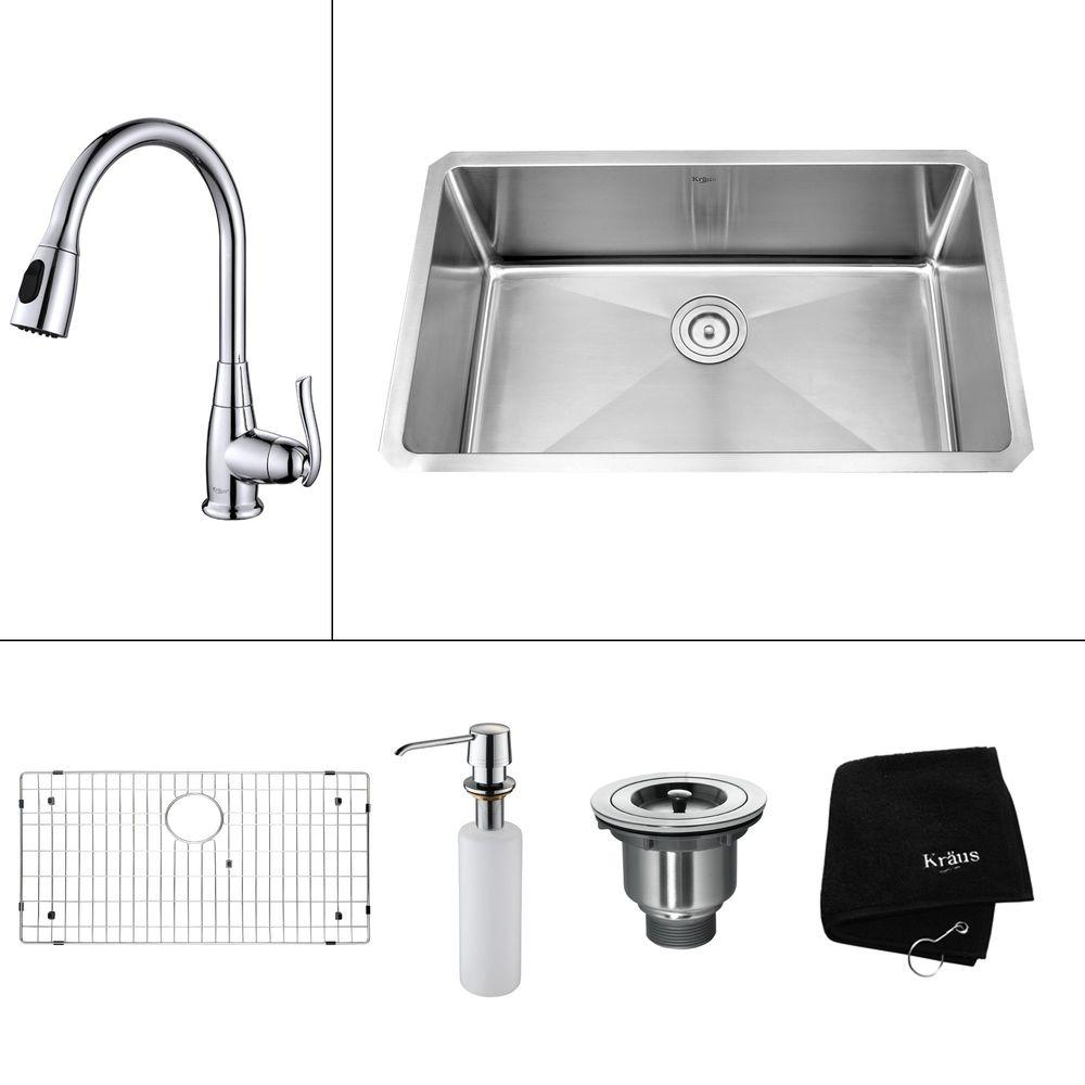 Kraus All In One Undermount Stainless Steel 30 In Single Bowl Kitchen Sink With Faucet And Accessories In Chrome Khu100 30 Kpf2230 Ksd30ch The Home Depot