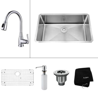 All-in-One Undermount Stainless Steel 30 in. Single Bowl Kitchen Sink with Faucet and Accessories in Chrome