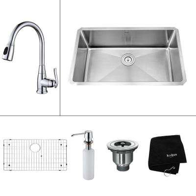 Wonderful All In One Undermount Stainless Steel 30 In. Single Bowl Kitchen Sink With