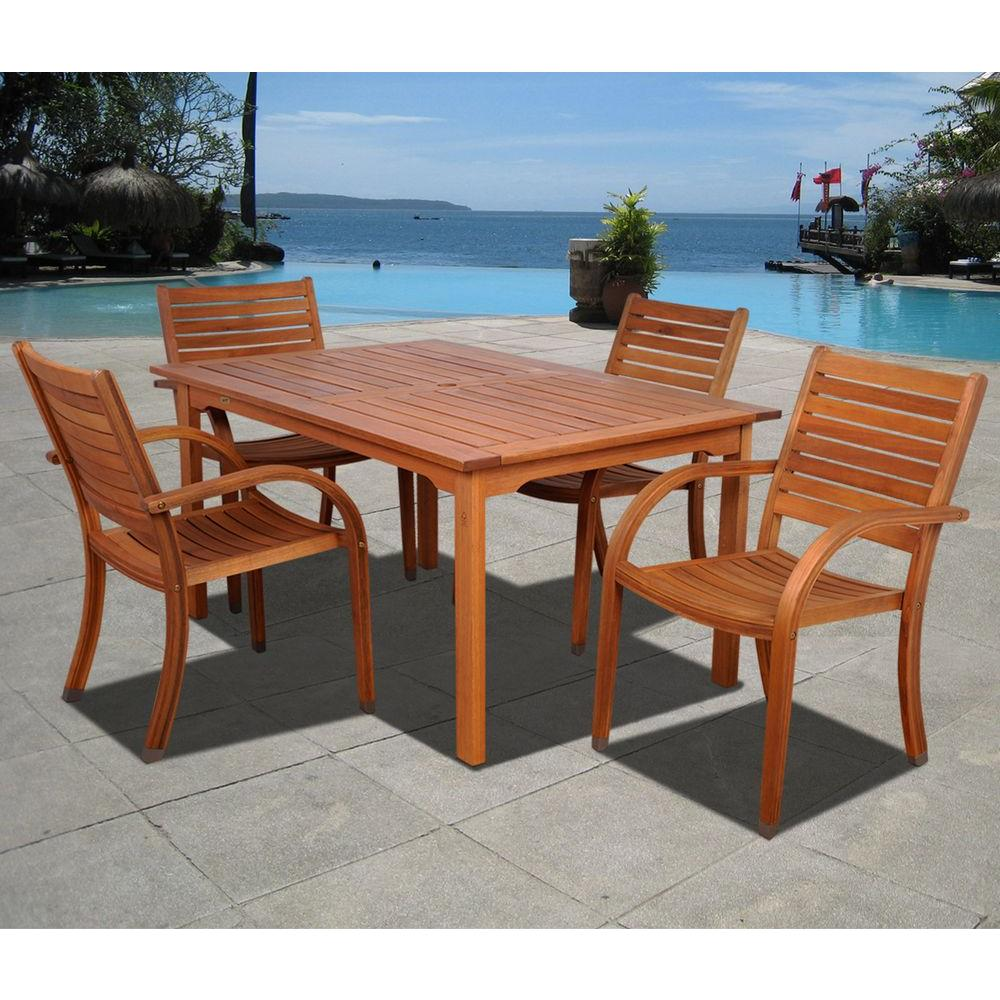 Arizona Eucalyptus Wood 5-Piece Rectangular Patio Dining Set
