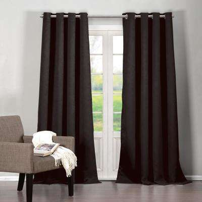 Quincy 38 in. W x 84 in. L Polyester Window Panel in Black