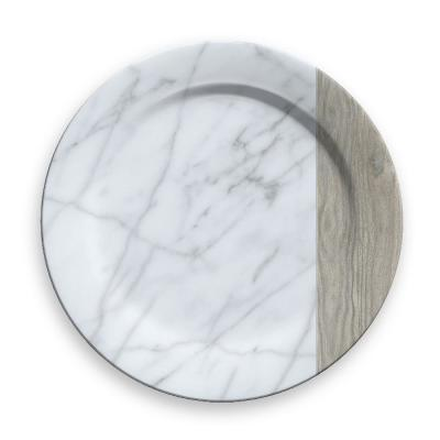 Mixed Material Carrara And French Oak Charger (Set of 6)