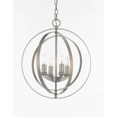 Contemporary 4-Light Silver Orb Chandelier