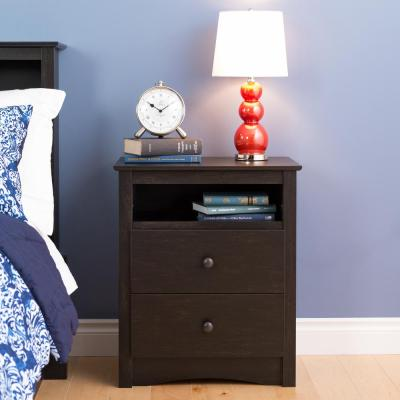 Sonoma 2-Drawer Washed Black Nightstand