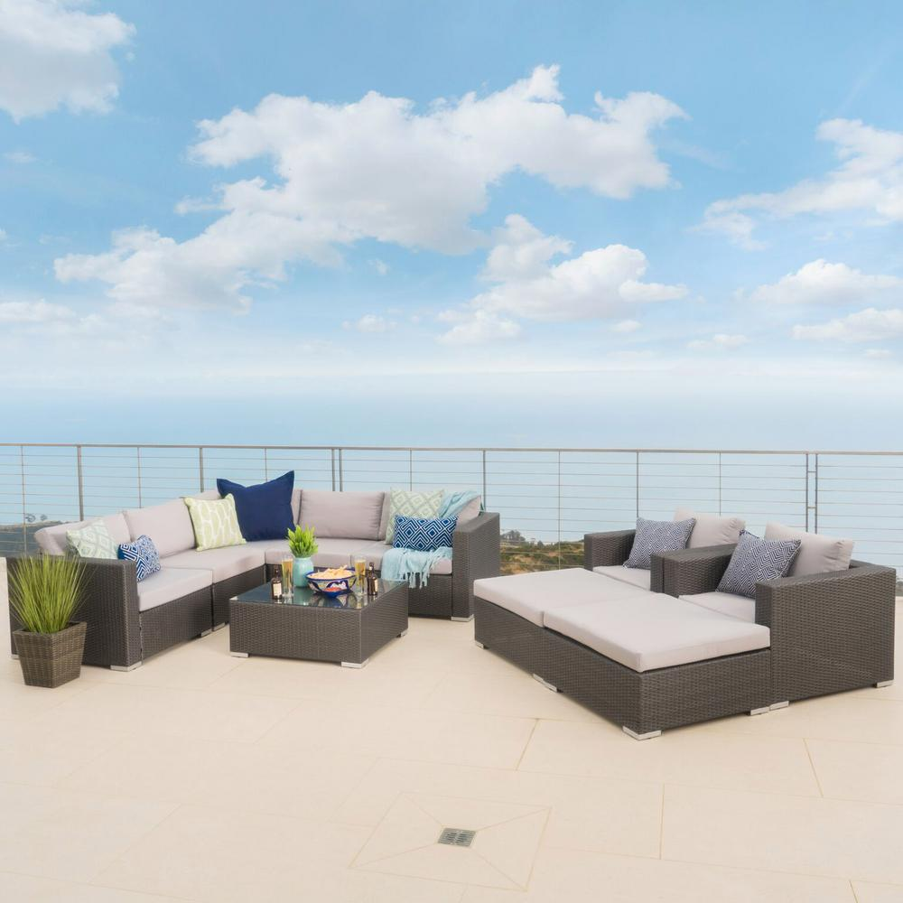 Noble House Gray 10-Piece Wicker Outdoor Sectional, Ottoman and Table Set with Silver Cushions
