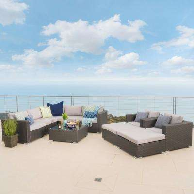 Gray 10-Piece Wicker Outdoor Sectional, Ottoman and Table Set with Silver Cushions