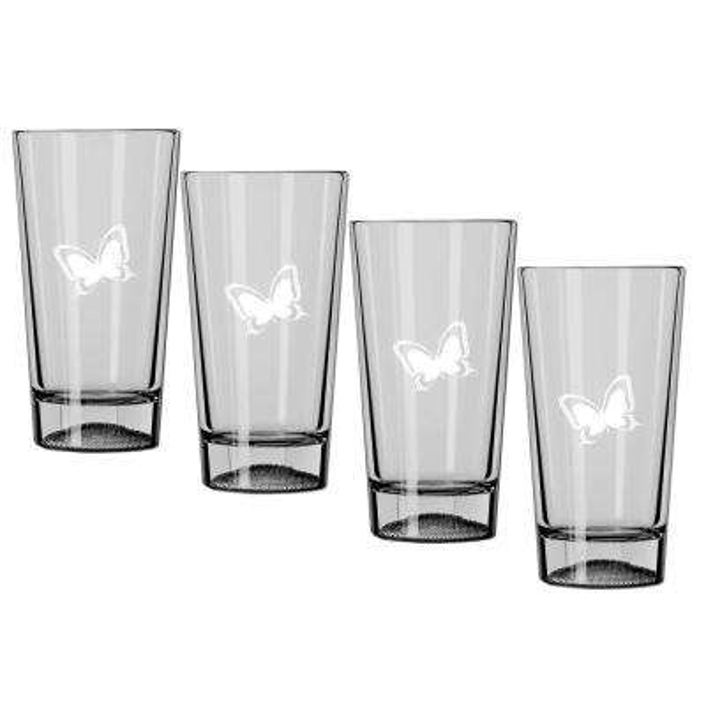 Kraftware Kasualware Butterfly 16 oz. Pint Glass (Set of 4)