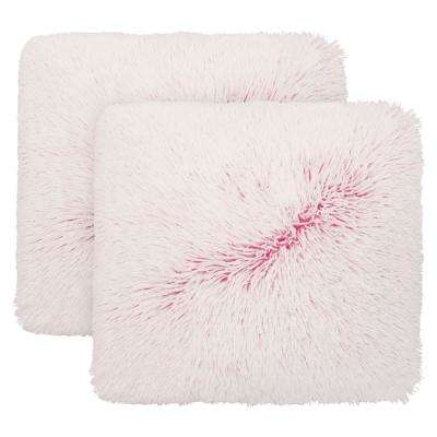 Mercedes 20 in. x 18 in. Dyed Shag Standard Decorative Pillow Set in Beetroot Purple/White Dye Ground (2-Piece)