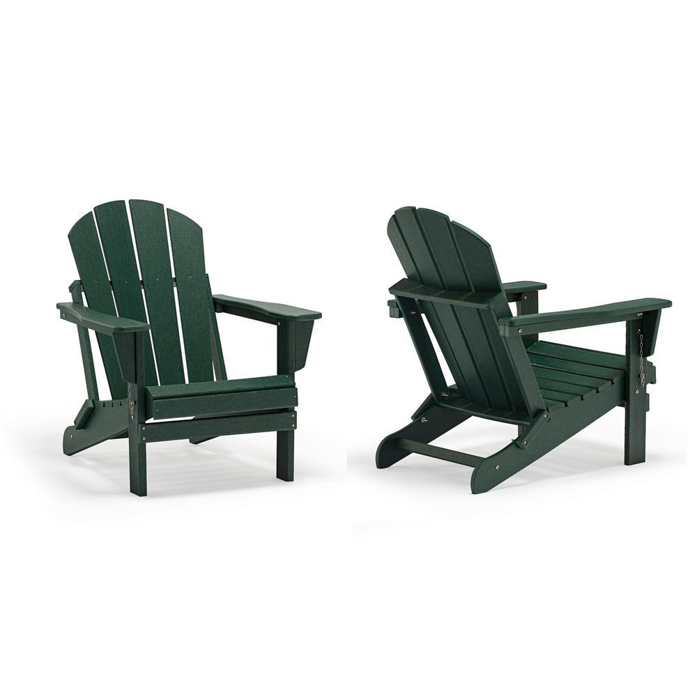 Addison Dark Green Outdoor Folding Plastic Adirondack Chair (Set of 2)