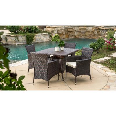 Danielle Multi-Brown 5-Piece Wicker Square Outdoor Dining Set with Beige Cushions