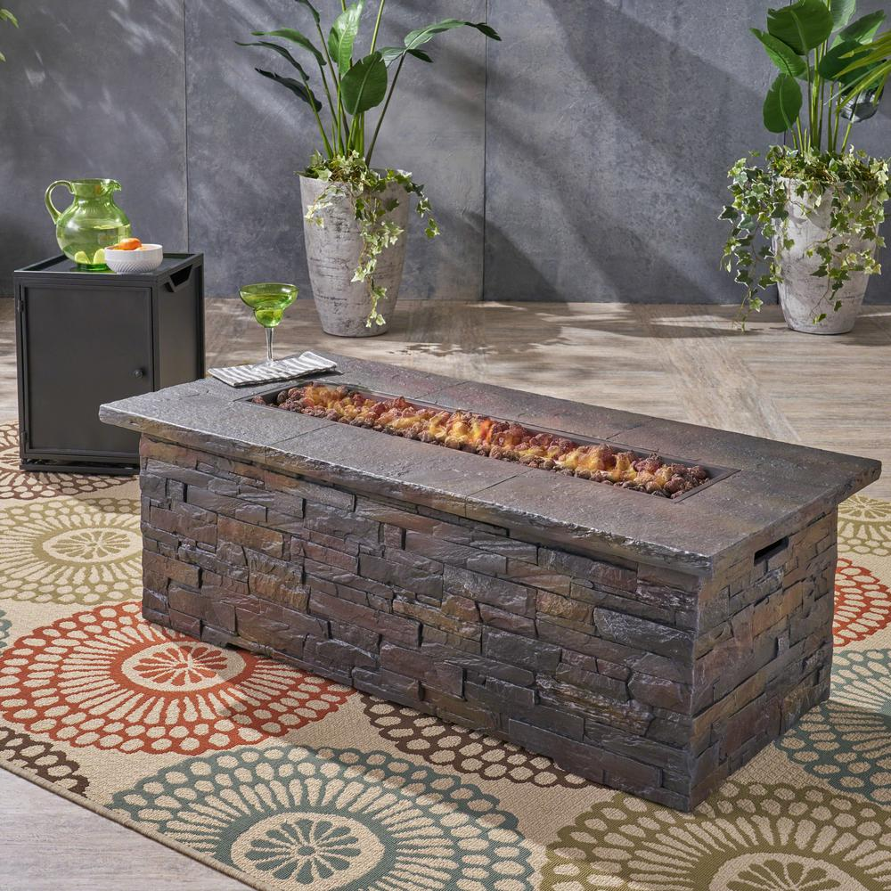 Noble House Deacon 56 in. x 18.75 in. Rectangular Concrete Propane Fire Pit in Natural Stone