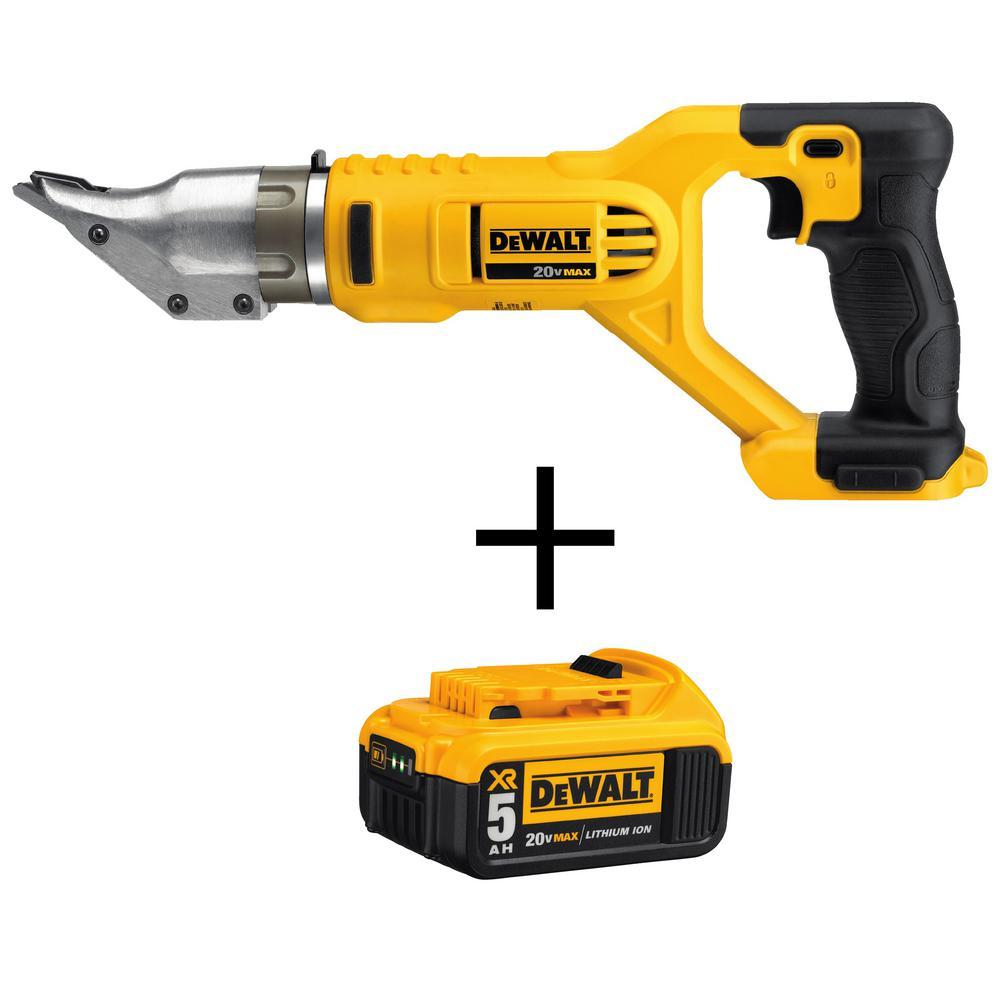 DEWALT 18-Gauge 20-Volt MAX Lithium-Ion Cordless Swivel Head Shears with Free Premium Battery Pack 5.0 Ah