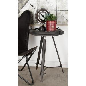 24 inch x 19 inch Iron Compass and Porthole Clock Table by