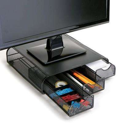 Perch PC Laptop IMAC Monitor Stand and Desk Organizer in Black Metal Mesh