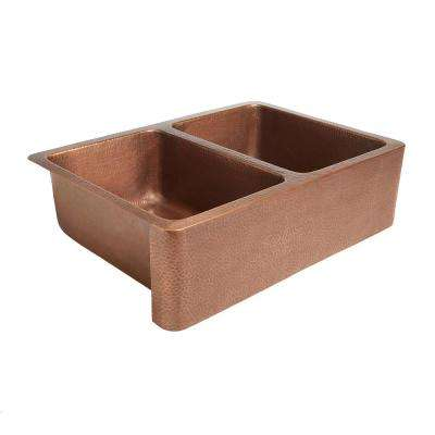 Rockwell Farmhouse Apron Front Handmade Pure Solid Copper 33 in. Double Bowl Kitchen Sink