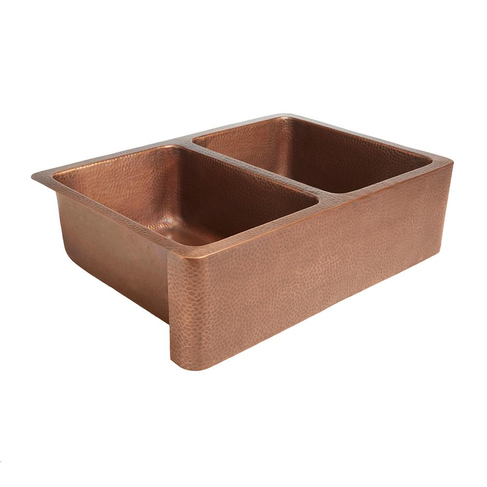 SINKOLOGY Rockwell Farmhouse/Apron-Front Handmade Solid Copper 33 in. Double Bowl 50/50 Kitchen Sink in Antique Copper