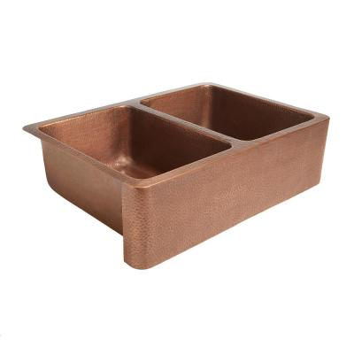 Adams Farmhouse/Apron-Front Handmade Solid Copper 33 in. Double Bowl 50/50 Kitchen Sink in Antique Copper