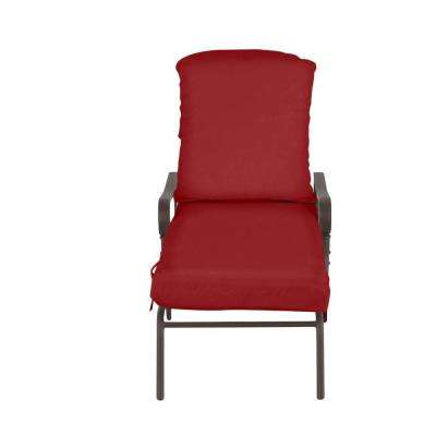 Oak Cliff Brown Steel Outdoor Patio Chaise Lounge with CushionGuard Chili Red Cushions