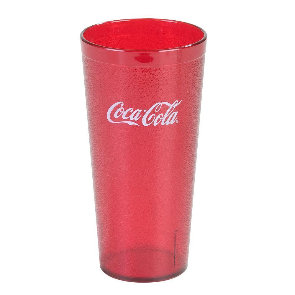 Carlisle 3.63 in. Diameter, 7.18 in. H, 24 oz. SAN Plastic Coca Cola Imprint Tumbler in Ruby (Case of 72)