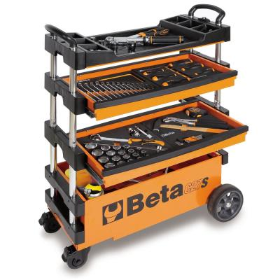 15 in. 2-Drawers Folding Tool Utility Cart for Portable Use, Orange (Tools Not Included)