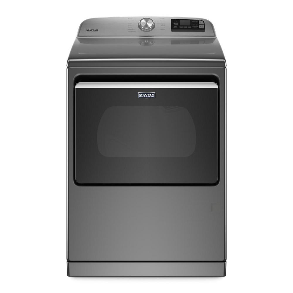 Maytag 7.4 cu. ft. 120-Volt Smart Capable Metallic Slate Gas Vented Dryer with Steam and Hamper Door, ENERGY STAR