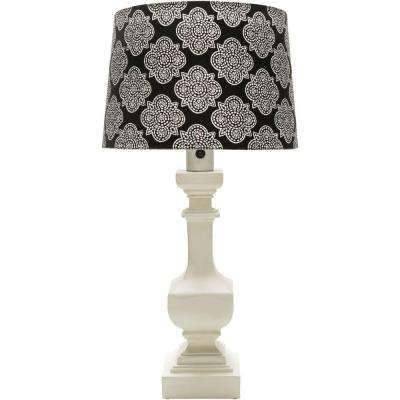 Aurel 29 in. White Indoor/Outdoor Table Lamp with Black Print Shade