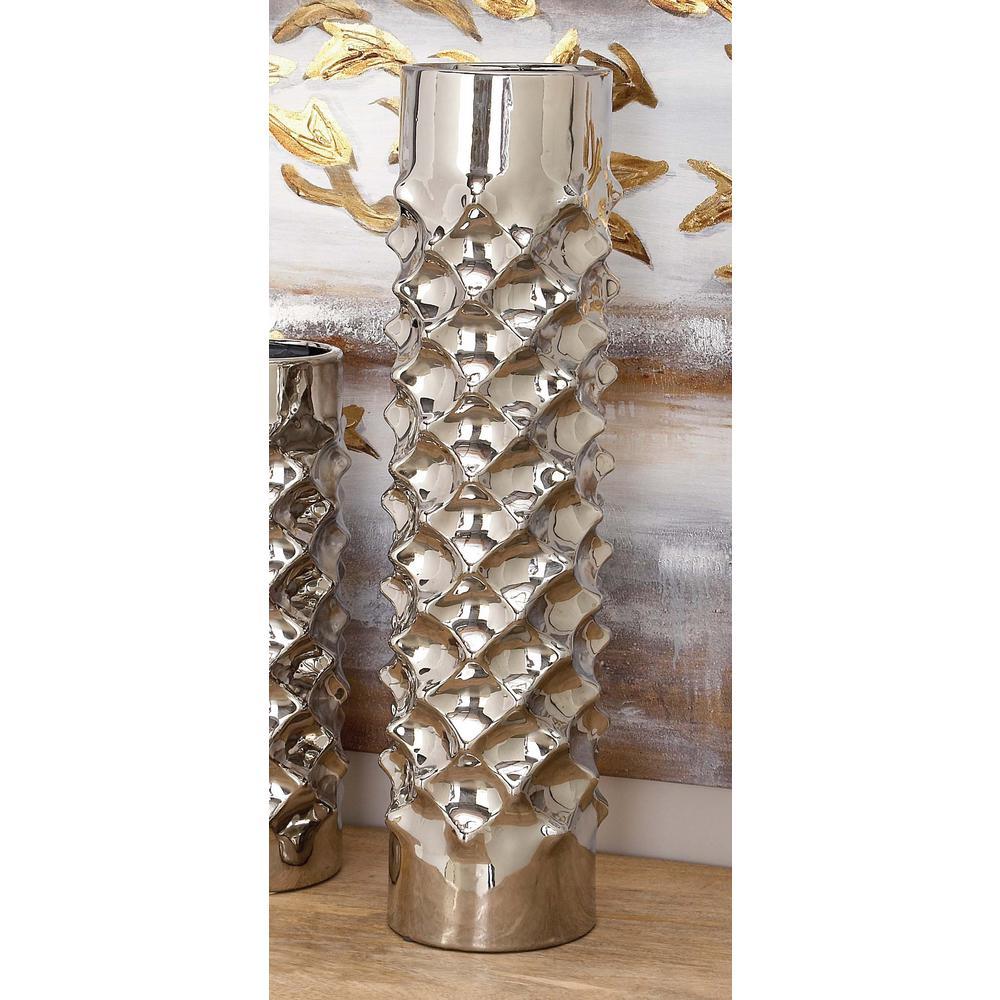 23 in. Ceramic Tower Decorative Vase in Silver