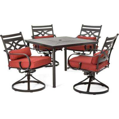 Montclair 5-Piece Metal Outdoor Dining Set with Chili Red Cushions, Swivel Rockers and Table