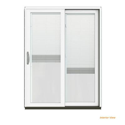 60 in. x 80 in. W-2500 Contemporary White Clad Wood Right-Hand Full Lite Sliding Patio Door w/White Paint Interior