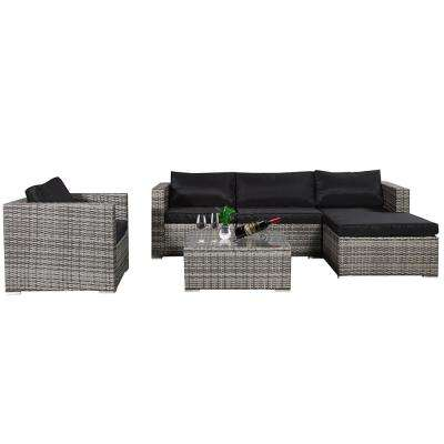 Carolina Gray 6-Piece Wicker Outdoor Sectional Set with Gray Cushions