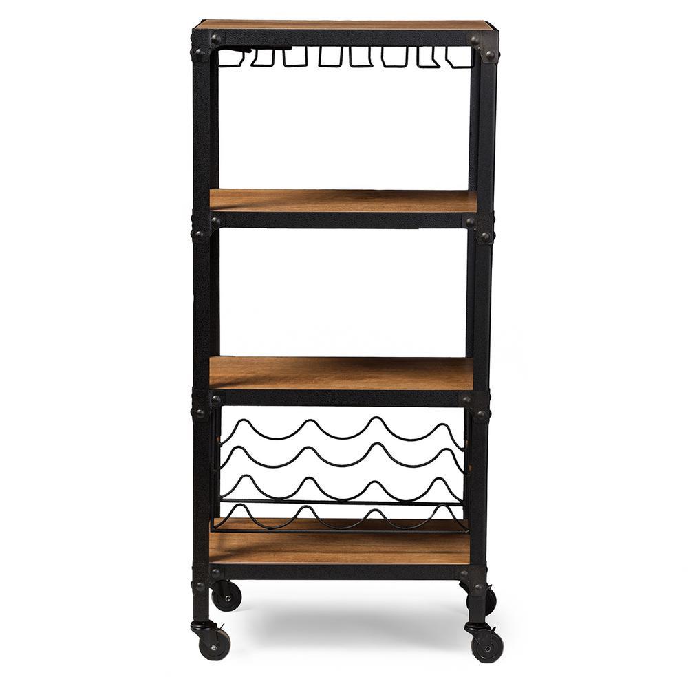 Swanson Medium Brown Wine Cart With Wine Glass Storage by Baxton Studio