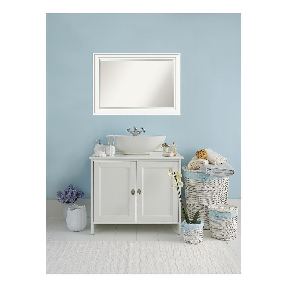 Craftsman White Wood 41 in. W x 29 in. H Single Contemporary Bathroom Vanity Mirror