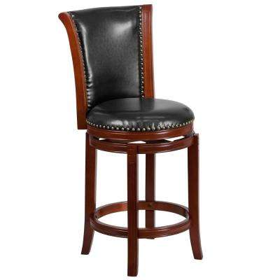 26 in. High Dark Chestnut Wood Counter Height Stool with Panel Back and Black Leather Swivel Seat