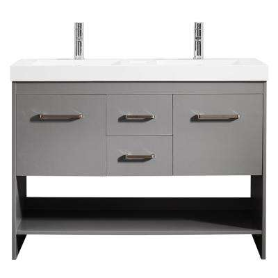Siena 48 in. W x 21 in. D Vanity in Grey with Acrylic Vanity Top in White with Double White Basins
