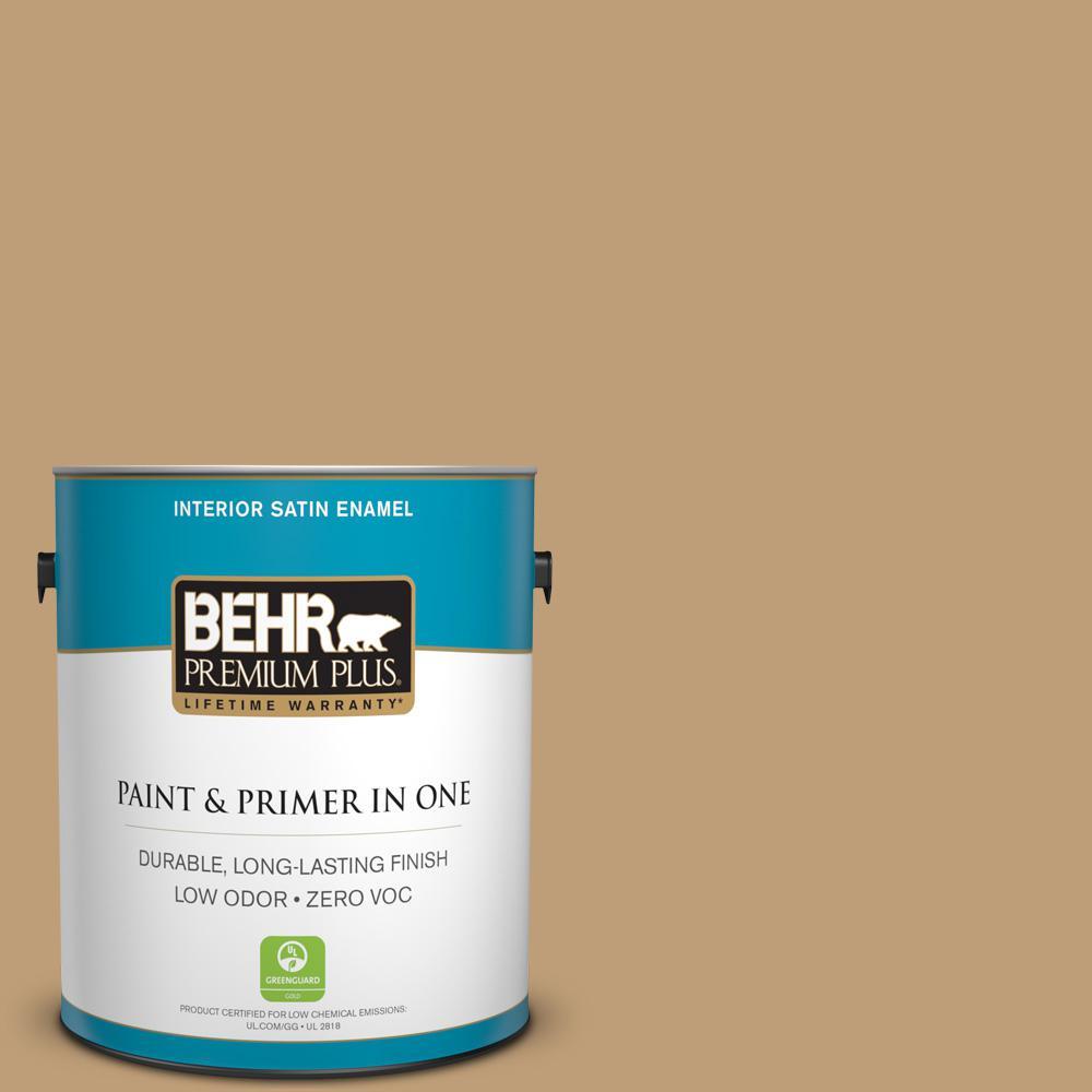 BEHR Premium Plus 1-gal. #300F-4 Almond Toast Zero VOC Satin Enamel Interior Paint