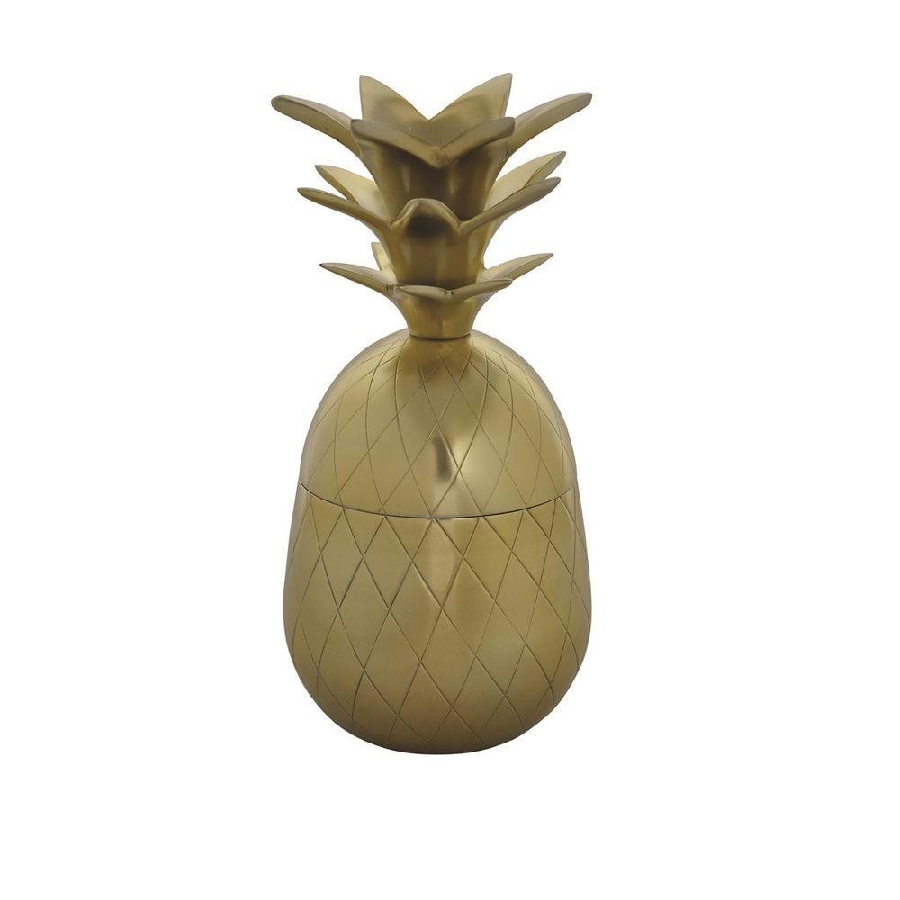 Pineapple Box 9.75 in. H Decorative Vase in Gold