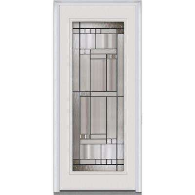 Kensington Decorative Glass Full Lite Primed White Majestic Steel Prehung Front Door  sc 1 st  The Home Depot & Single Door - Steel Doors - Front Doors - The Home Depot pezcame.com