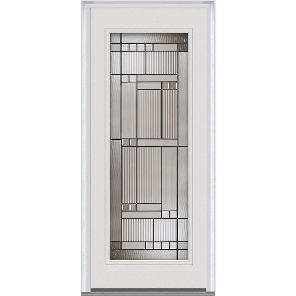 Mmi door 36 in x 80 in kensington decorative glass full lite primed white majestic steel for White exterior door with glass