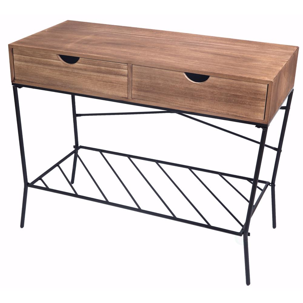 Uniquewise Wood And Metal Brown Console Table With 2 Drawers Storage Shelf