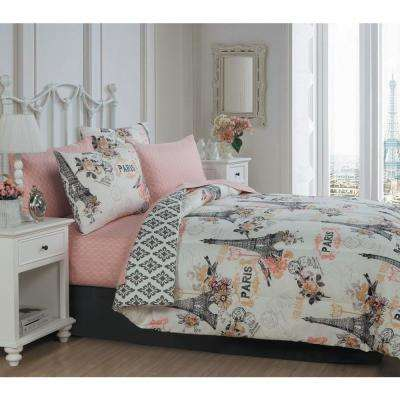 Cherie 6-Piece Coral Twin Bed in a Bag