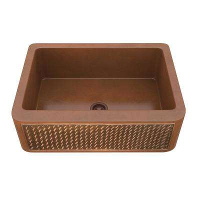 Indulgence Farmhouse Handmade Copper 30 in. Single Bowl Kitchen Sink with Weave Design Panel in Polished Antique Copper